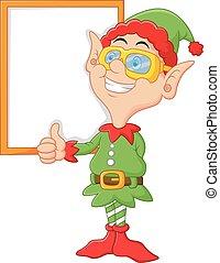 donner, dessin animé, elfe, haut, pouces