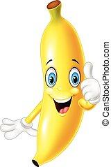 donner, dessin animé, haut, banane, pouces