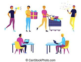 donner, différent, employé, concept, soi, avoir, dessin animé, période, time., gens., achats, caractères, présente, style., collection, illustration, situations, plat, vecteur, fun., gens, travail