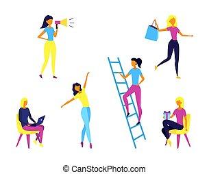 donner, différent, employé, concept, soi, femme, avoir, dessin animé, période, time., gens., ensemble, achats, caractères, présente, style., illustration, situations, plat, vecteur, fun., travail, filles