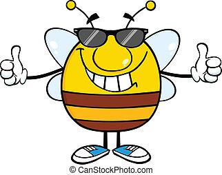 donner, double, haut, pudgy, abeille, pouces