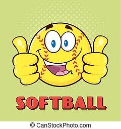 donner, double, softball, haut, pouces