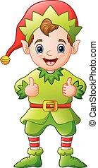 donner, elfe, haut, noël, pouces, dessin animé