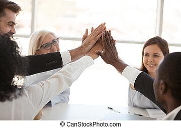 donner, employés, haut haut, divers, cinq, équipe, fin, réunion