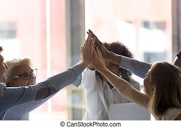 donner, employés, haut haut, divers, cinq, fin, réunion, compagnie