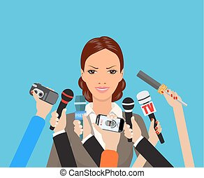 donner, entrevue, affaires femme