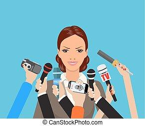 donner, entrevue, femme affaires