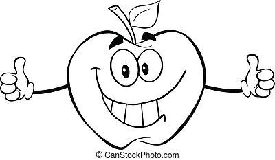 donner, esquissé, pouces, pomme, haut