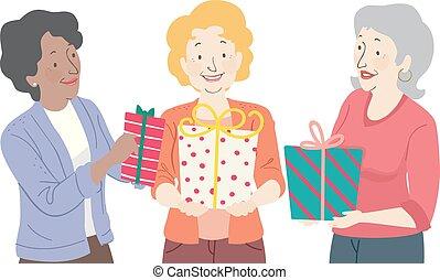 donner, femme aînée, cadeau, illustration