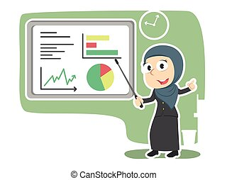 donner, femme affaires, arabe, présentation