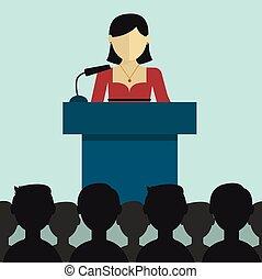 donner, femme affaires, présentation