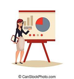 donner, femme affaires, présentation, planche, utilisation