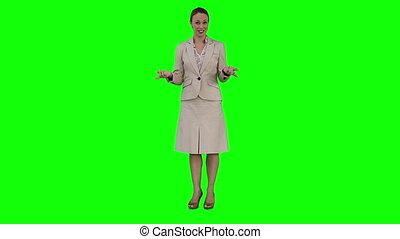 donner, femme affaires, présentation, virtuel