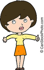 donner, femme, pouces haut, dessin animé