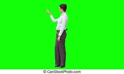 donner, femme, présentation, virtuel