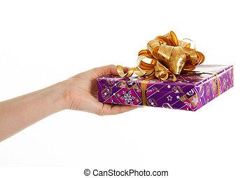 donner, femmes, gift., main