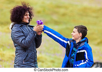 donner, fleurs, sien, mère, fils
