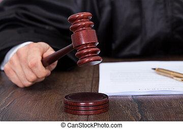 donner, frapper, juge, verdict, maillet