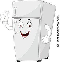 donner, frigidaire, dessin animé, mascotte, haut, pouces