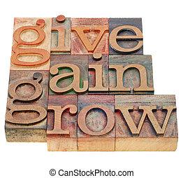 donner, gain, et, grandir
