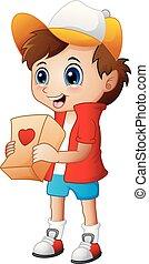 donner, garçon, paquets, dessin animé, cadeau