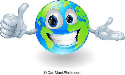 donner, globe, mascotte, haut, pouces