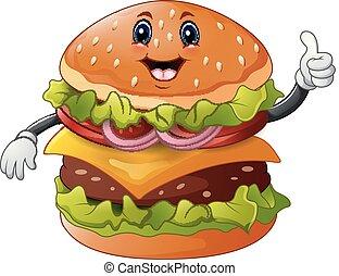 donner, hamburger, dessin animé, haut, pouces