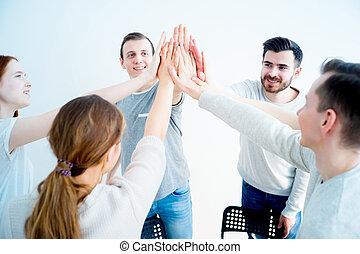 donner, haut cinq, groupe, gens