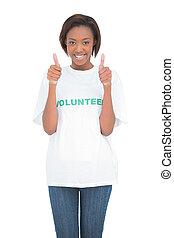 donner, heureux, pouces haut, volontaire