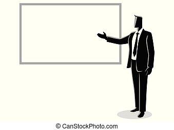 donner, homme affaires, blanc, présentation, planche