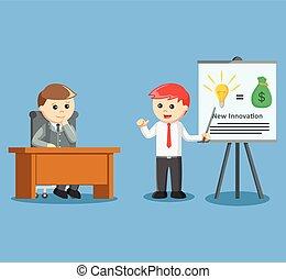 donner, homme affaires, présentation, abo