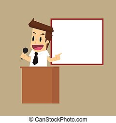 donner, homme affaires, présentation