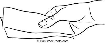 donner, illustration, main, billets banque, vecteur, monochrome