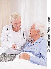 donner, infirmière, pilules