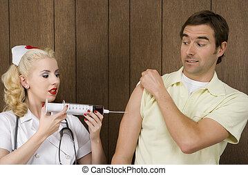 donner, infirmière, prise vue., homme