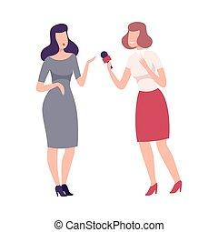 donner, journaliste, dictaphone, entrevue, présence, vecteur...