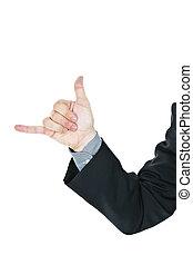 donner, lâche, pendre, signe main, homme