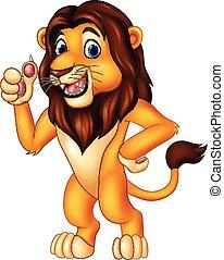donner, lion, pouce haut, dessin animé