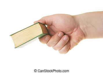 donner, livre, main