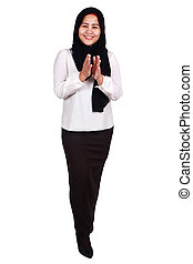 donner, longueur, femme, applaudissements, entiers, applaudir transmet, amical, sourire, musulman, portrait