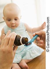 donner, médecine bébé, intérieur, mère