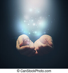 donner, magie, projection, tenue, foyer, particles., selctive, mains, fingers., ouvert, concept.