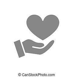 donner, main, coeur, aimer, grand, donation, amour, gris, icon., symbole, charité