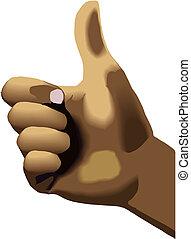 donner, main, pouces haut