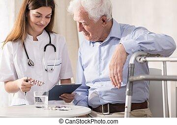 donner, malade infirmière, médicaments, elle