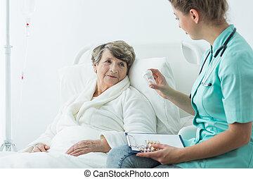 donner, medcines, malade infirmière