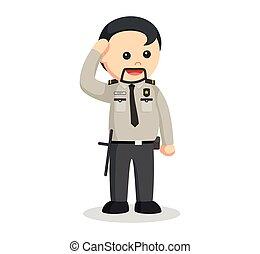 donner, officier sécurité, graisse, salut