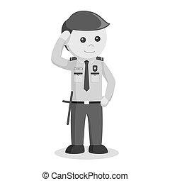 donner, officier sécurité, salut