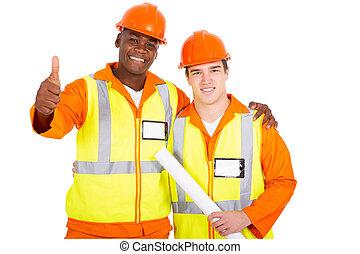 donner, ouvriers, construction, pouce haut