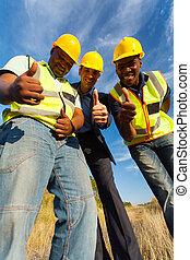 donner, ouvriers, construction, pouces haut